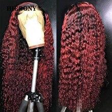 Ombre 99j perucas encaracoladas do cabelo humano da parte dianteira do laço com cabelo do bebê ombre 1b99j 13x6 peruca dianteira do laço encaracolado nós descorados para preto