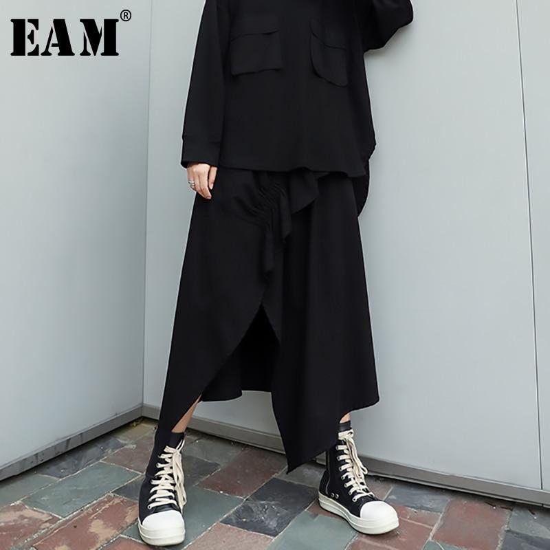 [EAM] High Elastic Waist Black Asymmetrical Ruffles Temperament Half-body Skirt Women Fashion Tide New Spring Autumn 2020 1R102
