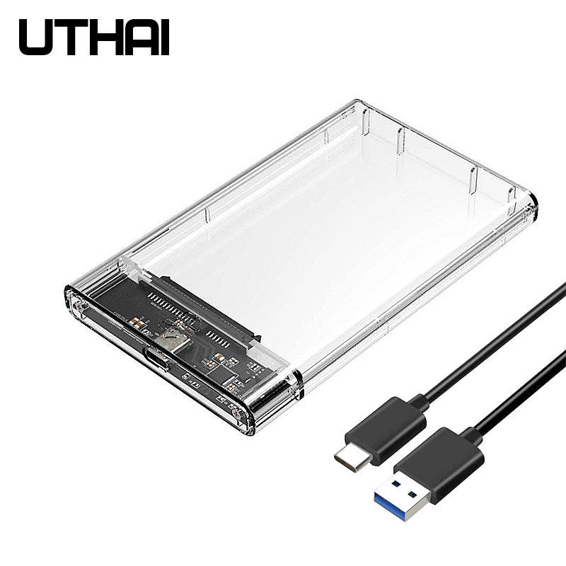 UTHAI T09 Type C 2 5   Hard Drive Enclosure Transparent Mobile HDD Box USB3 1 SSD Case Portable Hardisk With USB C Cable