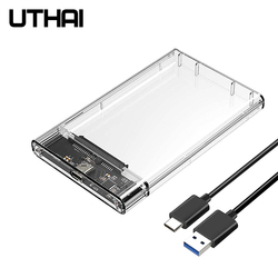 UTHAI T09 Type C 2.5'' Hard Drive Enclosure Transparent Mobile HDD Box USB3.1 SSD Case Portable Hardisk With USB C Cable