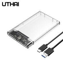 Uthai t09 usb3.0/tipo c 2.5 enclosure enclosure gabinete de disco rígido caixa móvel transparente hdd usb3.1 ssd caso hardisk portátil com cabo usb c
