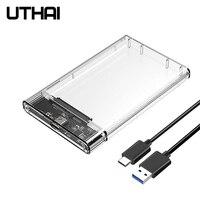 Uthai t09 tipo c 2.5 enclosure enclosure gabinete de disco rígido transparente móvel hdd caixa usb3.1 ssd caso hardisk portátil com cabo usb c Caixa externa para HDD     -