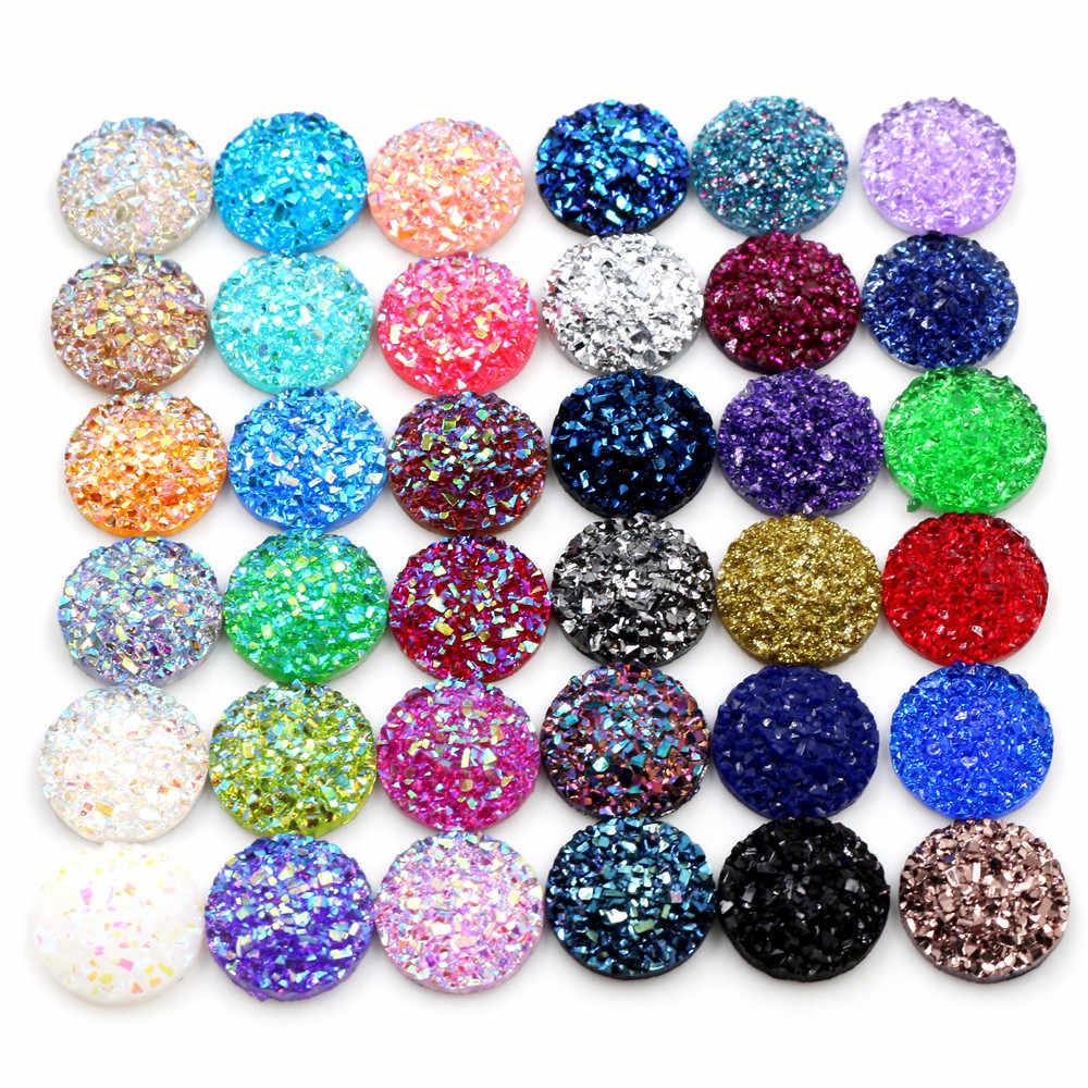Moda 40 pçs 8mm 10mm 12mm mix cores druzy pedra natural convexo plana volta resina cabochons acessórios jóias suprimentos