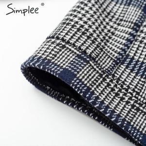 Image 5 - Женское клетчатое пальто с искусственным мехом Simplee, Короткая Меховая куртка на пуговицах, уличная одежда для осени и зимы