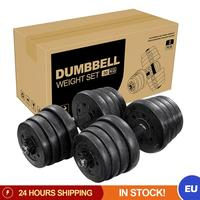 A Set of 30kg Weight Dumbbell Set Solid Plates Fitness Adjustable Gym Exercise Indoor Fitness Equipment for Home Outdoor