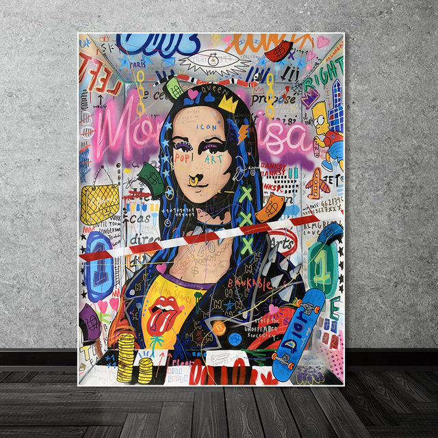 Graffiti Art Mona Lisa Modern Abstract Paintings Printed on Canvas 3