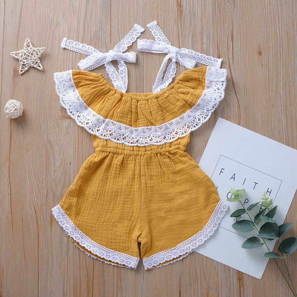 Lato noworodka dziecko dziewczynka Off ramię pajacyki w paski koronkowe stroje szyi ubrania letnie urocze ubranka