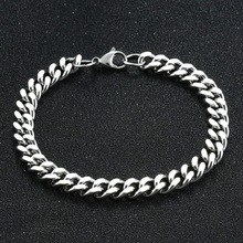 Mens Bracelet Jewelry Cuban-Chain Gift Stainless-Steel Steel-Color Fashion for Women
