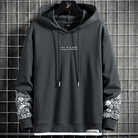 Spring Autumn Black Grey Harajuku Hoodie Men Hip Hop Letter Embroidery Fake Two Piece Pullover Hooded Sweatshirts Oversized Tops
