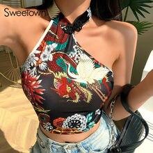 Sweetown – hauts à col Cheongsam Dragon pour femmes, tenue Streetwear Vintage, sans manches, Slim, été