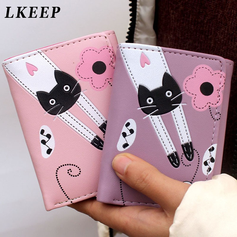 2019 New Women Wallet Cute Cartoon Cat Style Coin Purse Girl Clutch Short Wallet Change Purse Ladies PU Leather Card Holder
