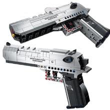 Swat cidade militar deserto águia pistola série arma modelo 3d blocos de construção kit diy mini tijolos diamante montagem brinquedo para o miúdo presente