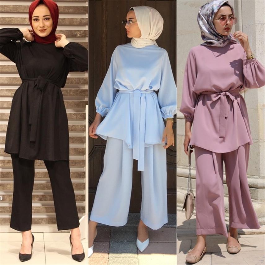 Eid Mubarak Muslim Sets Abaya Fashion Ramadam Dubai Turkey Saudi Arabia Elegant Ladies Karftan Islamic Clothing Pant Outfit