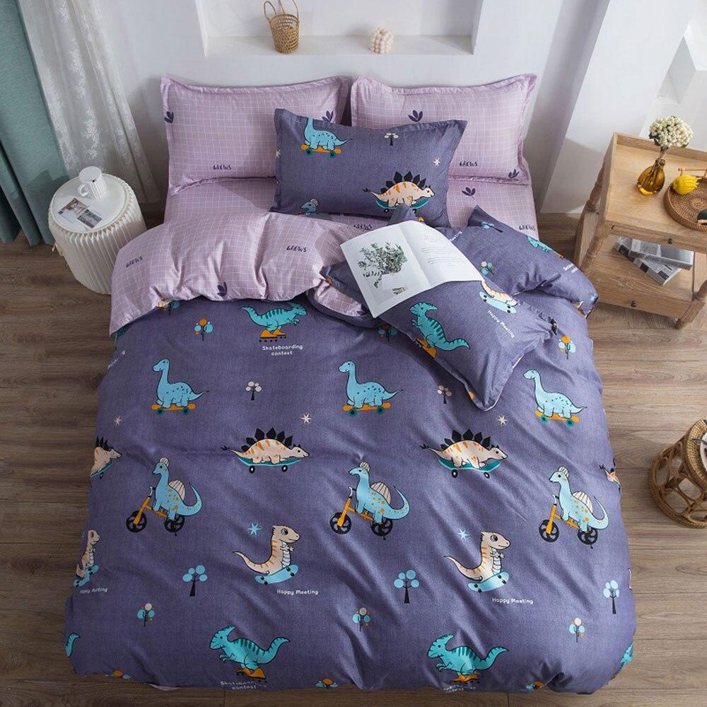Cartoon Dinosaurs Skating Bedding Sets Microfiber Brush Polyester Bedlinens Twin Full Queen King Duvet Cover Set Pillowcases