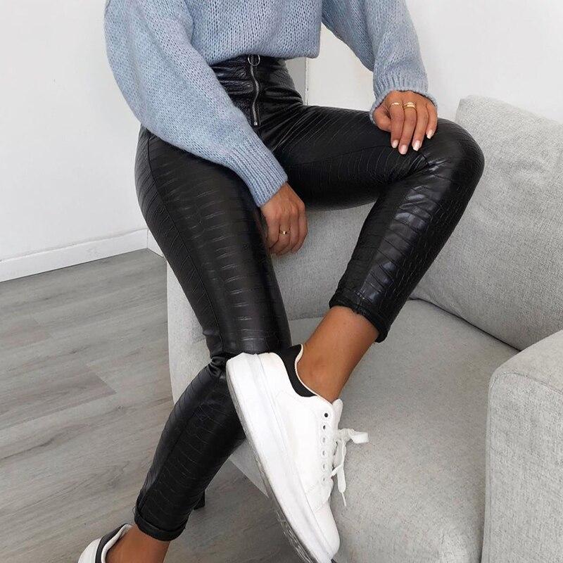 InstaHot Elegant High Waist Faux Leather Pants Women Pencil Skinny Pants Office Ladies Trousers Casual Slim Black Capris 2019 1