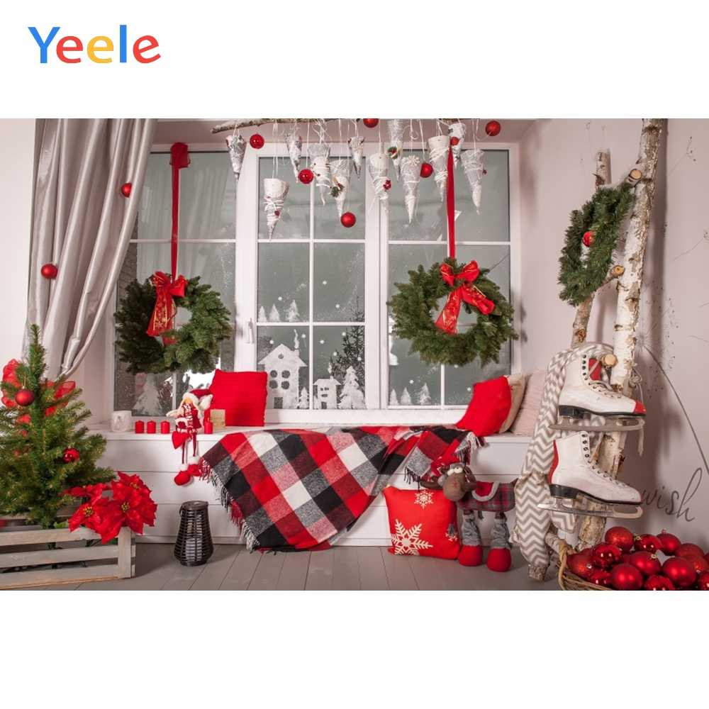 Yeele Christmas Ball Window Crown Curtain Interior Photography Backgrounds Customized Photographic Backdrops for Photo Studio