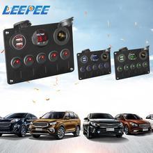 자동차 마린 LED 로커 스위치 패널 디지털 전압계 아우디 A4 용 BMW E46 용 듀얼 USB 포트 12V 콘센트 조합
