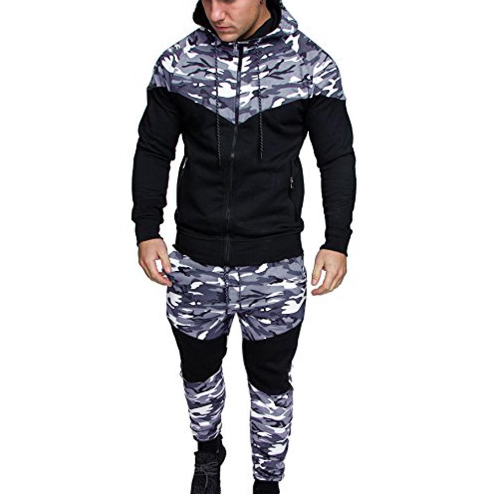 Men Track Suit Camouflage Sweatshirt Elastic Top Pants Sets Tracksuit спортивный костюм мужской хлопок кофта мужская #TD26