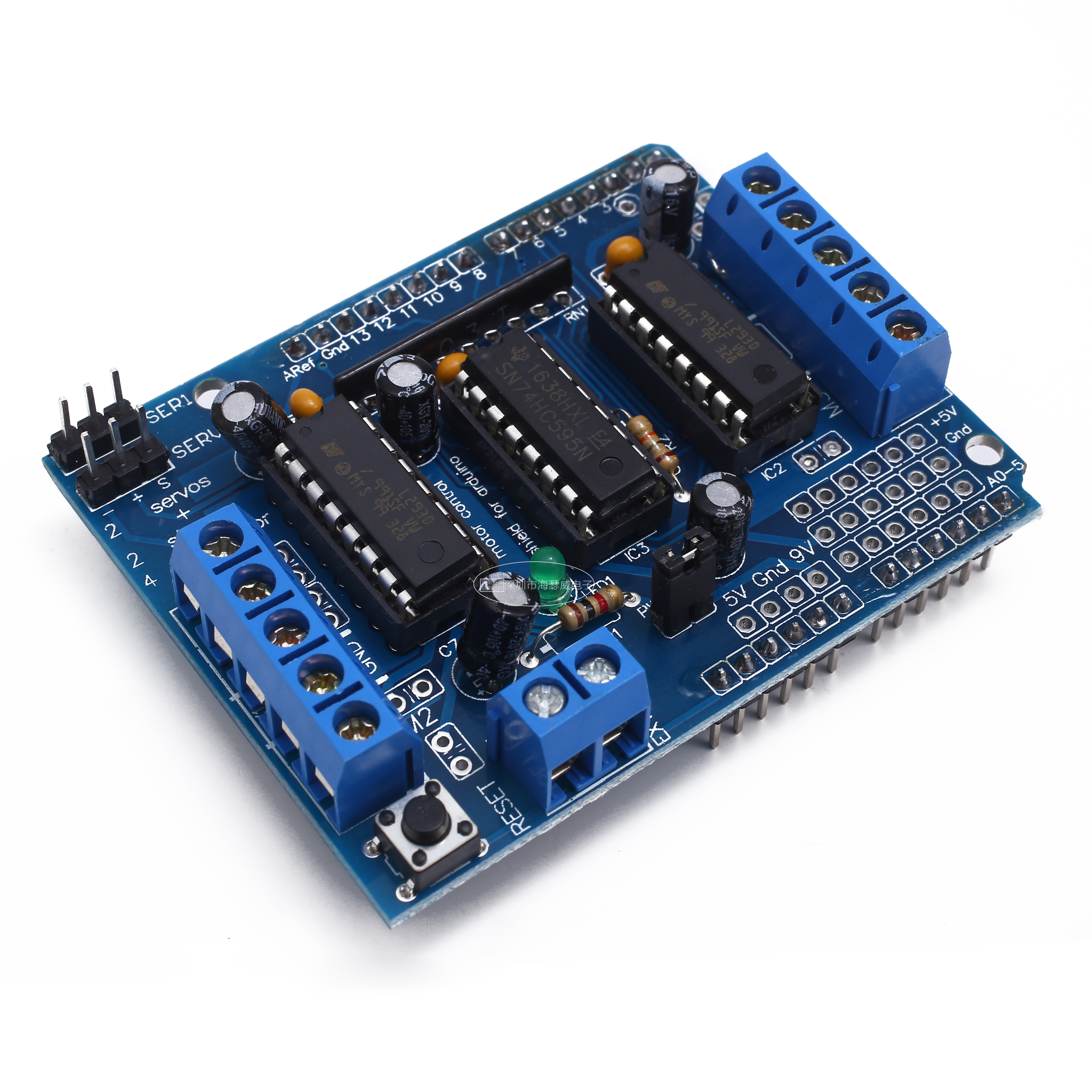 L293D двойной щит привода двигателя для arduino Duemilanove, плата расширения привода двигателя, щит управления мотором