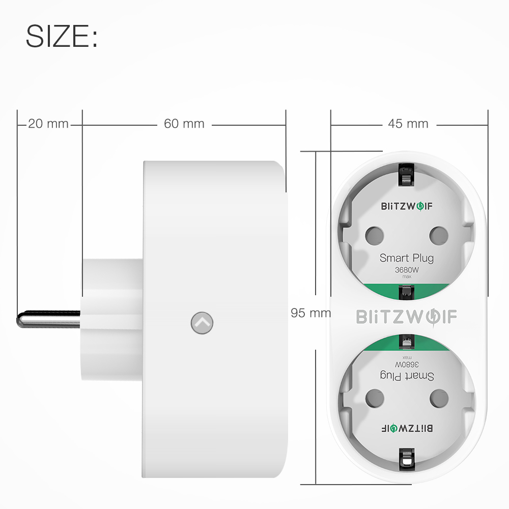 Image 5 - BlitzWolf BW SHP7 3680W 16A Dual Outlet EU Plug Smart WIFI Socket APP Remote Control Work With Google Assistant / Amazon AlexaSmart Power Socket Plug   -