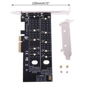 pci e to m 2 nvme ngff riser card m key b key hard disk drive adapter desktop hdd expansion card for mac linux windows PCIE to M2 M.2 Dual NVMe SSD NGFF Adapter M Key B Key SATA Riser Expansion Card