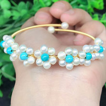 New natural pearls with turquoise bracelet ladies fashion fresh pearl bracelet jewelry gift