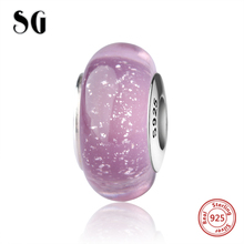 SG romantic purple sparkling Murano glass beads sterling silver 925 fit authentic pandora charm bracelet fashion jewelry making