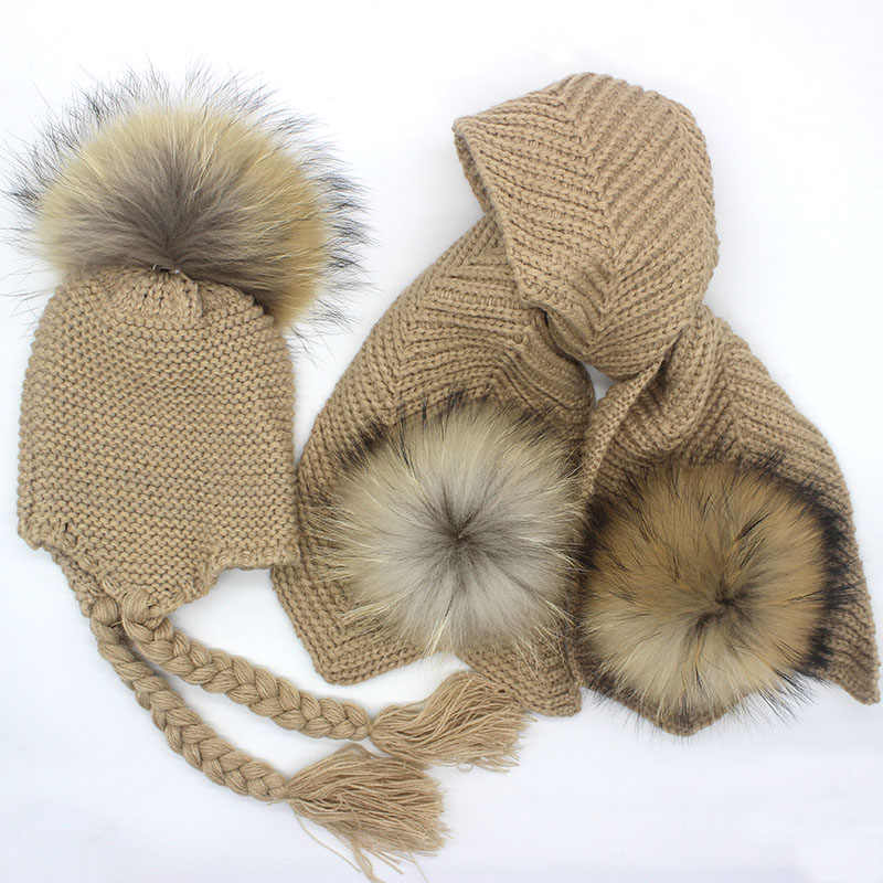 Kids knitted Scarf and Hat Set Luxury Winter Warm Crochet Hats and scarves with Real fur pom Beanie Hat for boys and girls
