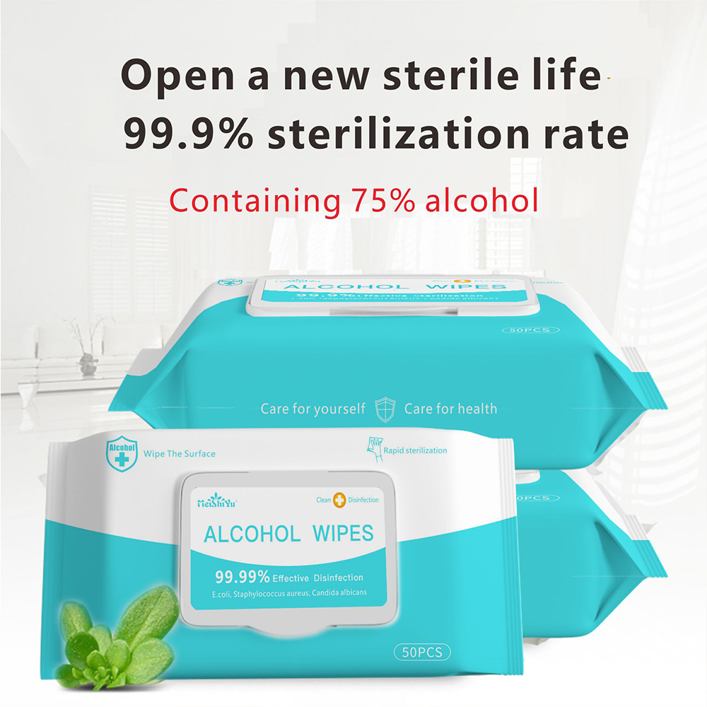 50PCS/Pack Portable 75% Alcohol Wet Wipes Antiseptic Disinfection Wipes Sterilization Wipes Household Hand Cleaning Wipes Heath