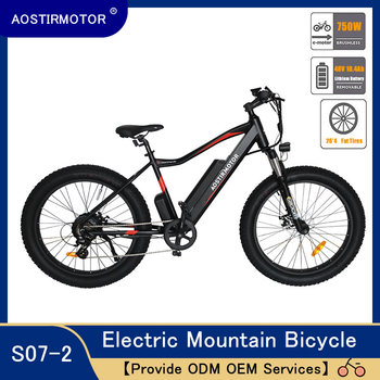 AOSTIRMOTOR Electric Mountain Bike Fat Tire Bicycle Cruiser Bike 750W Ebike 48V 10.4Ah Lithium Battery mountain bike fat 48v 500w samsung lithium battery electric bicycle 10 an large capacity 27 speed 26 x 4 0 electric snow bike