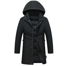 Mens Winter Cotton-padded Jacket Coat Casual Padded Cotton Parkas Hooded Down Suit