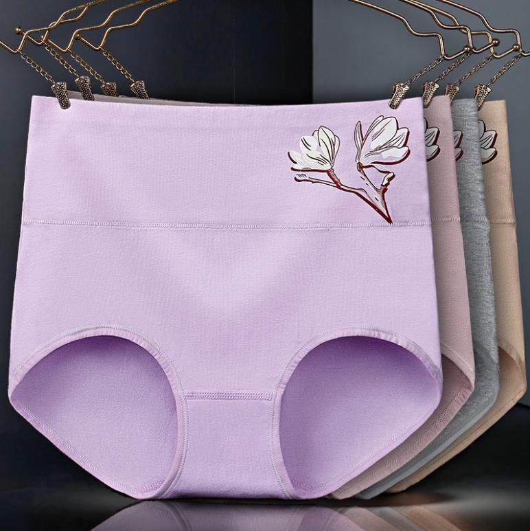 Women's Panties Cotton Blend Underwear Print Briefs High Waist Ladies Breathable Panty Female Underpants Women Pants Hip Panties
