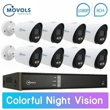 Movols 1080P Colorful Night Vision CCTV Kit Outdoor Waterproof Video Surveillance System 8CH DVR 8PCS/4PCS Security Camera Set