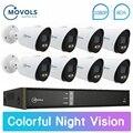 Movols 1080P Kleurrijke Nachtzicht CCTV Outdoor Video Surveillance systeem 8CH DVR 8PCS Bewakingscamera AHD CCTV kit