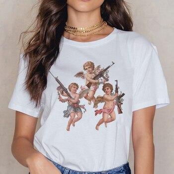 天使 90s ファッション tシャツ女性かわいいプリント半袖 o-ネック tシャツヴィンテージ流行 ullzang tシャツ原宿トップ tシャツ女性