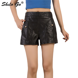 Genuine Leather Shorts Black Elastic Waist Button and Pocket Front Wide Leg Shorts Women Autumn Casual Solid Boots Shorts