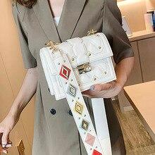 ETAILL Colorful Wide Strap Fashion Female Square Bag 2019 PU Leather Womens Designer Handbag Rivet Lock Chain Shoulder Messeng