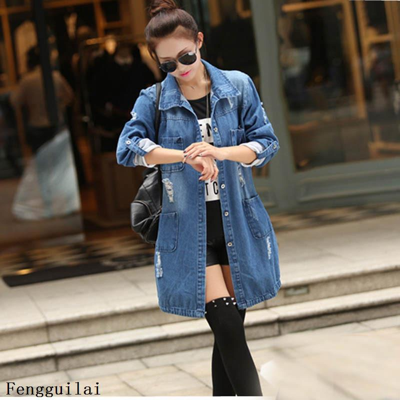 Autumn Hole Denim Jackets Plus Size S-5XL Slim Jeans Outwear Tops Long-sleeved Cardigan Cowboy Medium Length Coat Female