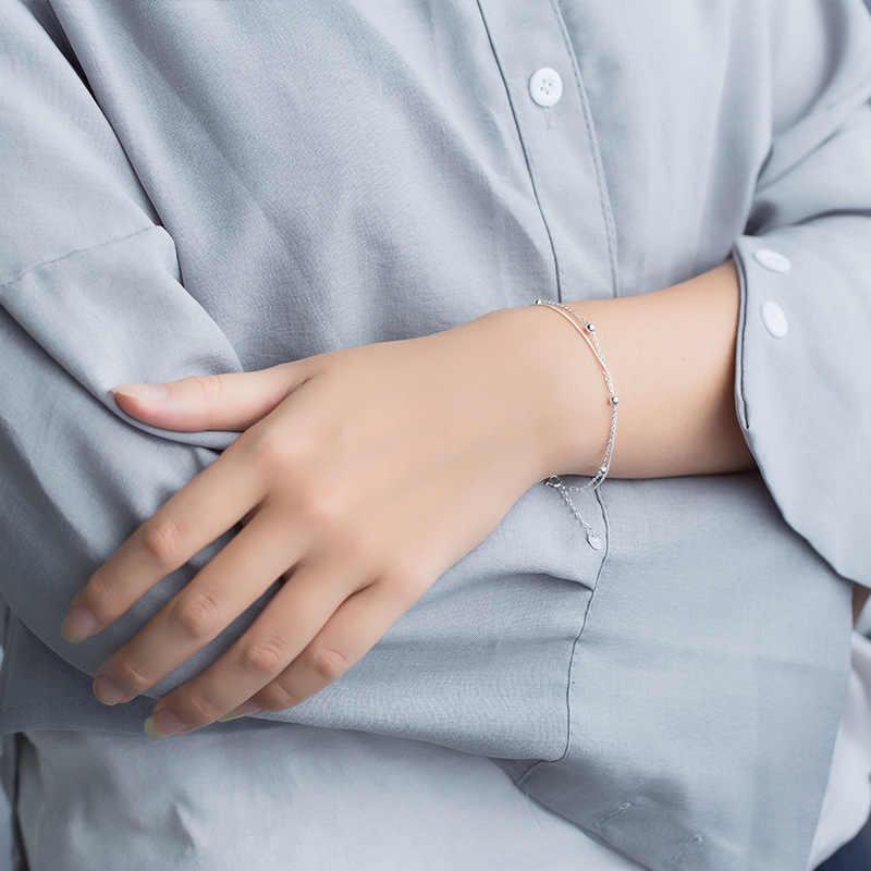Trusta 100% 925 Sterling Zilver Mode Vrouwen Sieraden Double Layer Kralen Armband 16Cm Voor Gift Meisjes Lady Drop verzending DS454