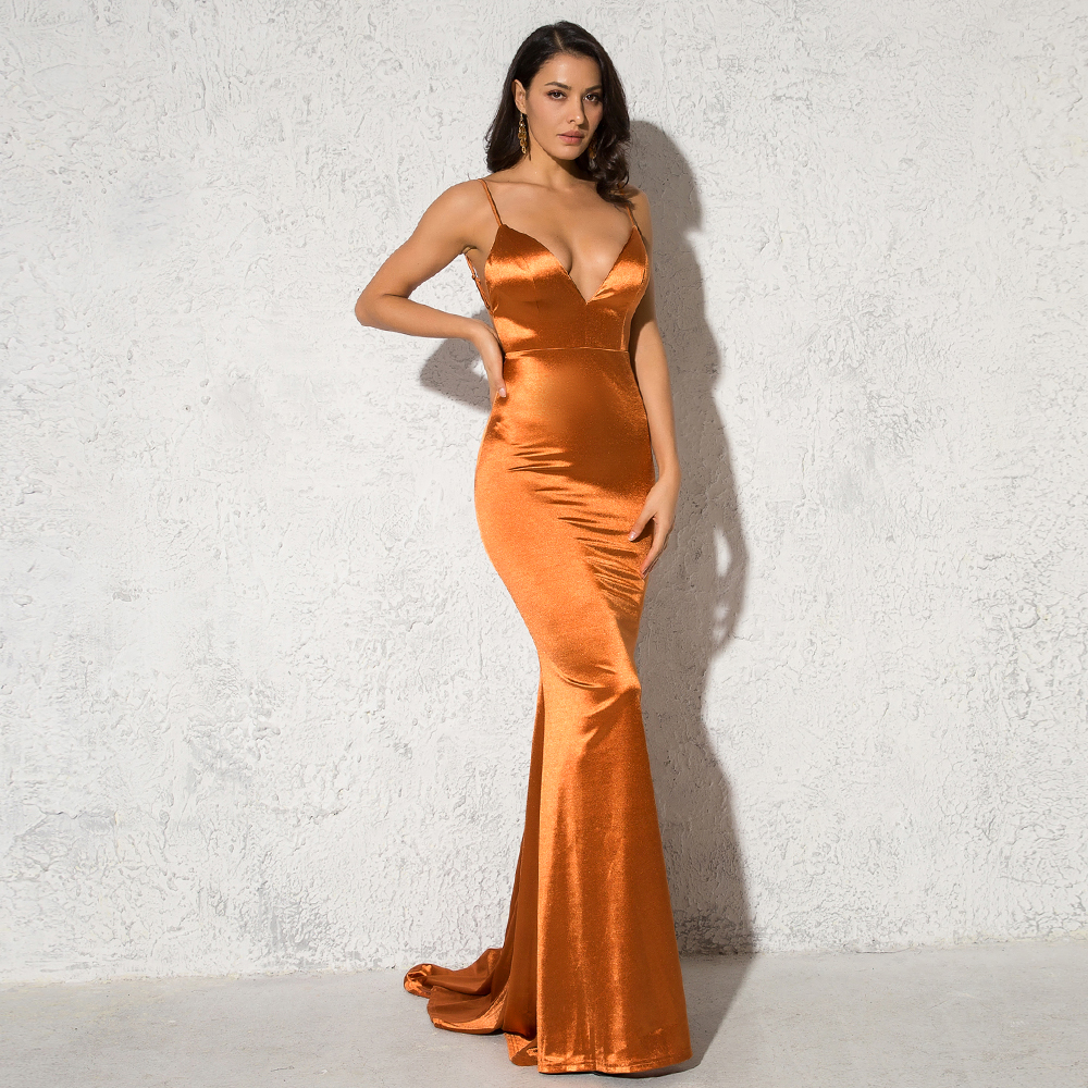 Deep V-Neck Burgundy Satin Mermaid Open Back Long Evening Dress 20
