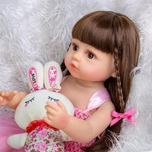 Лидер продаж 55 см Bebe кукла, кукла для маленьких девочек розовое платье кроя принцесса, очень мягкий полный корпус силиконовые красивые кукл...