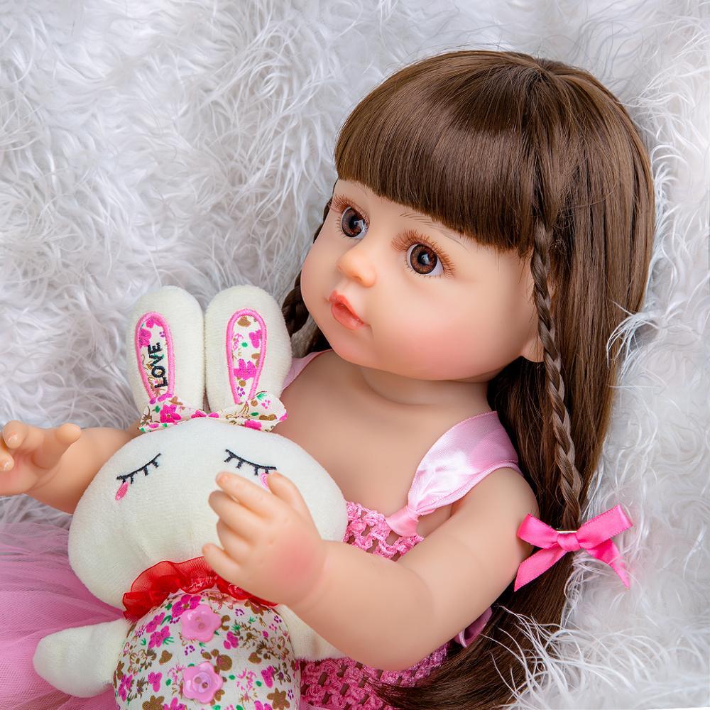 Muñeca Bebe de 55 cm Reborn, niño niña, princesa rosa, cuerpo completo muy suave, muñeca bonita de silicona, regalos de juguete de tacto Real