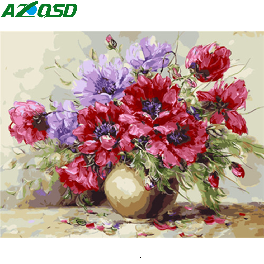 AZQSD Unframe Pictures By Numbers Flower Home Decoration Acrylic Paint DIY Oil Painting By Numbers Vase On Canvas Handicraft