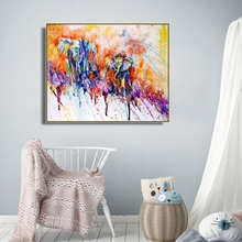 Laeacco Abstract Watercolor Graffiti  Canvas Painting Poster and Print Wall Art Picture Nordic Home Decor Living Room Decoration