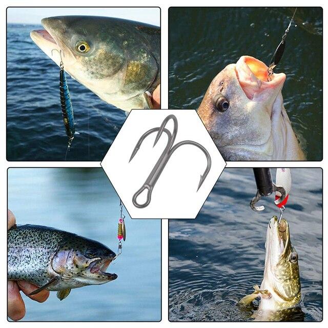 Купить набор рыболовных тройных крючков из высокоуглеродистой стали картинки цена