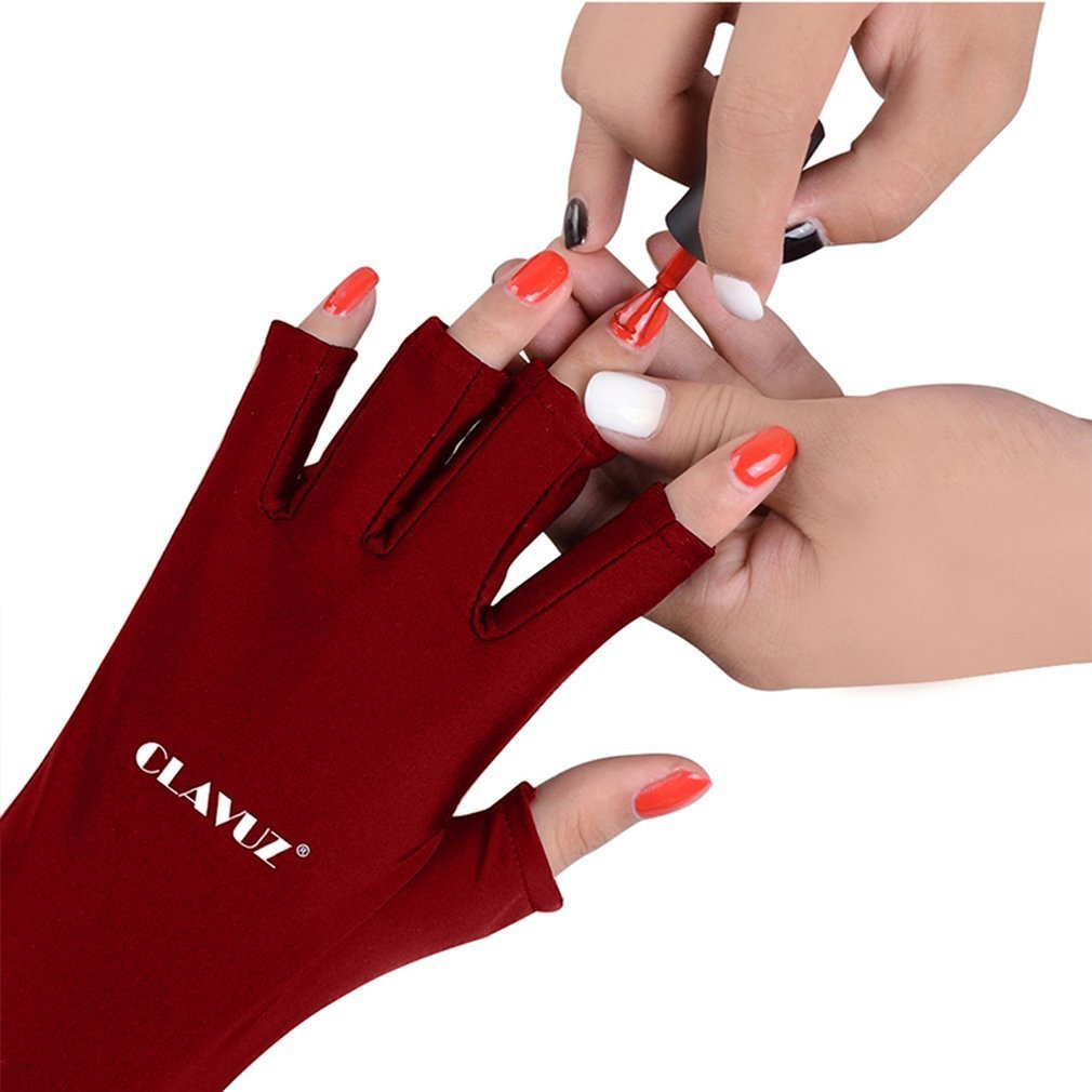 CLAVUZ 1Pair Nail Art Nail Shield Gloves Anti UV For Gel Manicures LED Lamp Nail Dryer UV Protection Glove Light Nail Art Tools