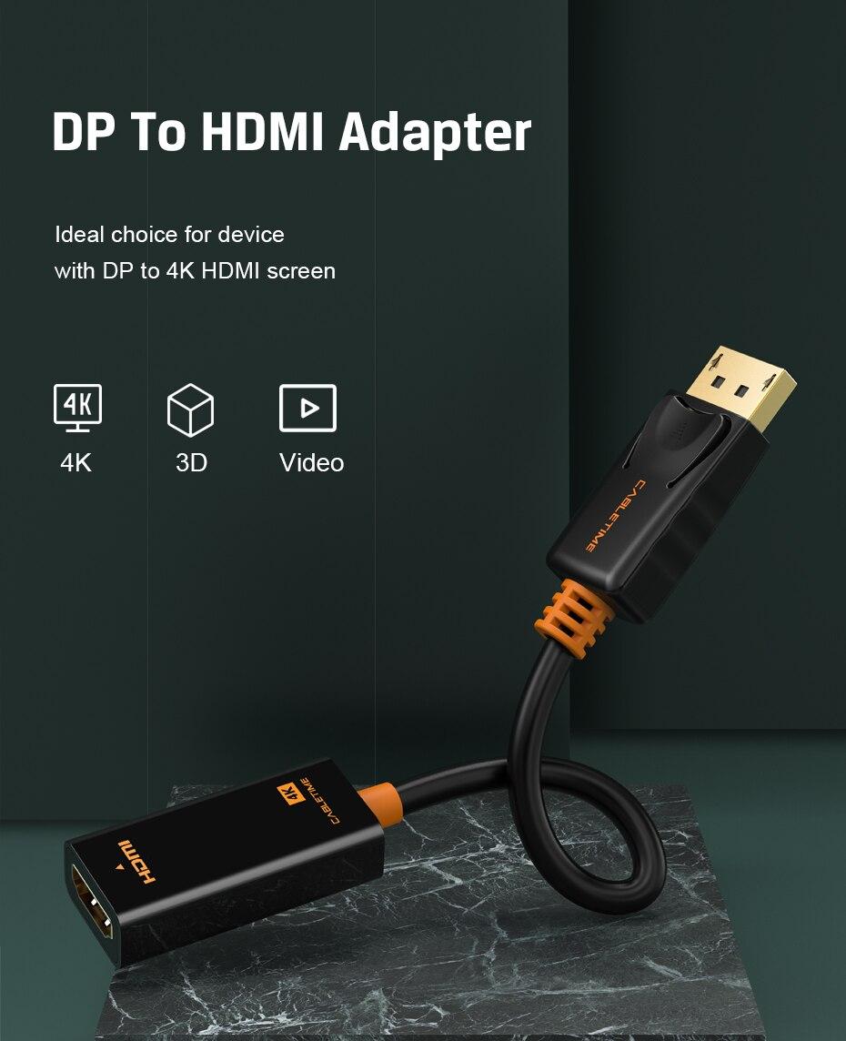 Cabletime Dp Naar Hdmi-Compatibel M/F Converter 4K/2K Display Port Naar Hdmi-compatibel Adapter Displayport Hdmi 4Kfor Macbook N007 11