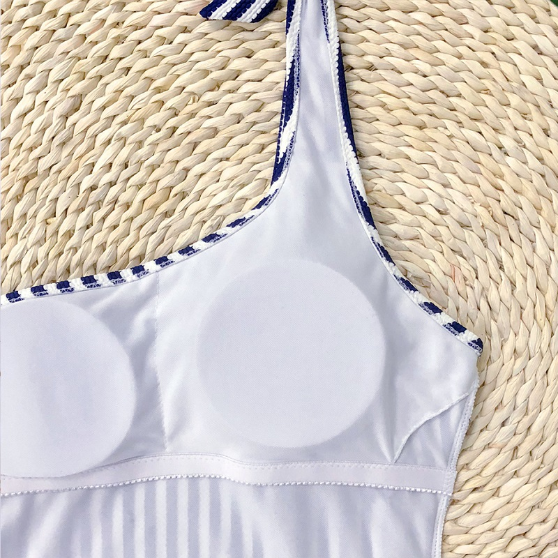 Striped Swimsuit One Shoulder Women Swimwear Push Up Bathing Suit Deep Blue Bodysuit Swimming Suit Women Sexy Swimwear in Bikinis Set from Sports Entertainment