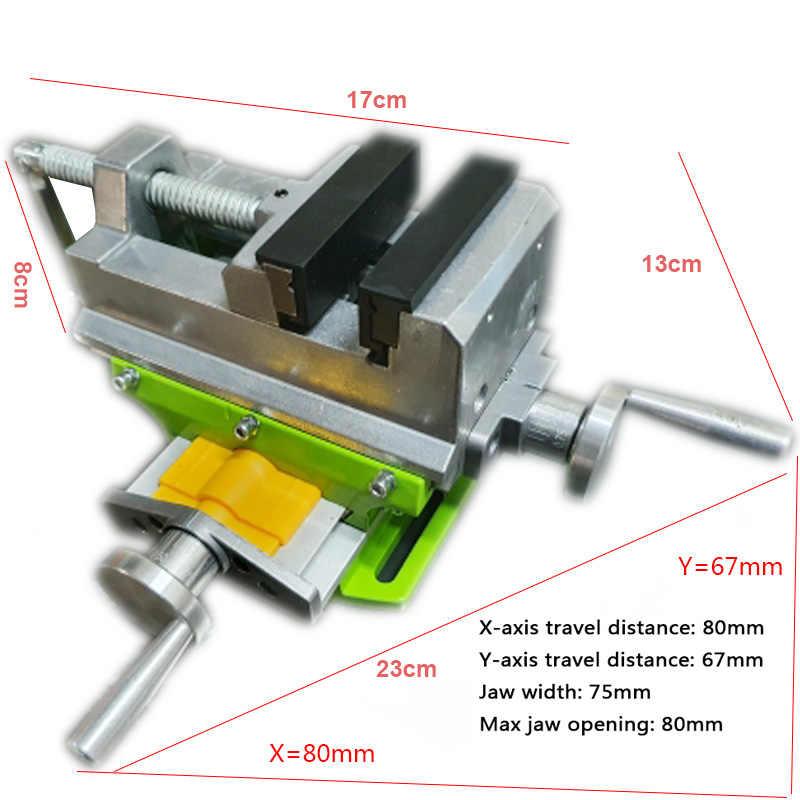 Tornillo de banco deslizante cruzado de 3 pulgadas abrazadera X-Y con un m/áximo de 70 mm de banco compuesto y tornillo de banco de prensa de taladro mango giratorio de escala de 360 grados ajustab
