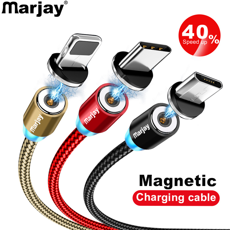 Marjay Magnetic Charger Cable Fast Charging Micro USB Type C Cable For iPhone Samsung
